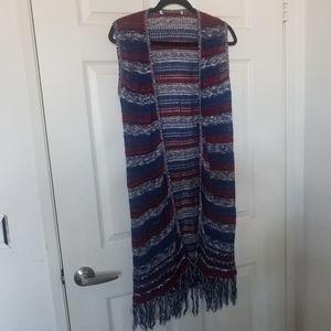Boho Knitted Lightweight Shawl Fringe Cardigan